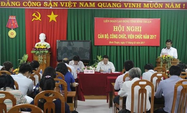 Hình Công đoàn Viên chức tỉnh chỉ đạo Công đoàn cơ sở phối hợp chuyên môn tổ chức Hội nghị cán bộ công chức năm 2017